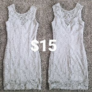 Dresses & Skirts - Silver Lace Cocktail Dress